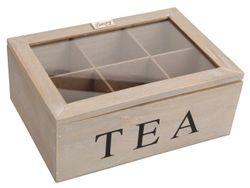 Cutie pentru ceai,6 sectiuni 23X16X9cm, din lemn