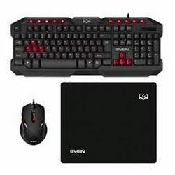 Tastatură pentru jocuri și mouse și mouse pad SVEN GS-9200, Multimedia, rezistent la scurgeri, WinLock Black, USB