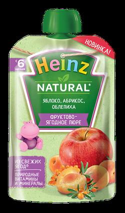 Пюре HEINZ Яблоко, абрикос, облепиха 90г (6 месяцев)