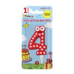 Свеча «ДЕТСКАЯ» для торта, цифра «4»,1 buc.  /24