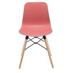 Пластиковый стул, деревянные ножки с металлической опорой, 470x450x795 мм, красный