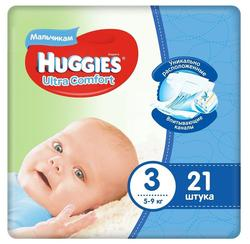 Scutece Huggies Ultra Comfort pentru băieţi 3 (5-9 kg), 21 buc.