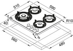 Plită incorporabilă cu gaz Franke FHMF 604 3G DC C