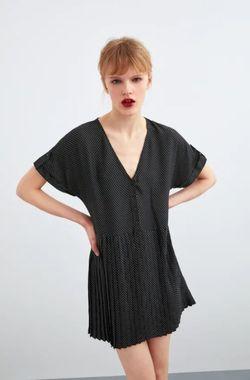 Платье ZARA Чёрный в горошек 0003/110/084