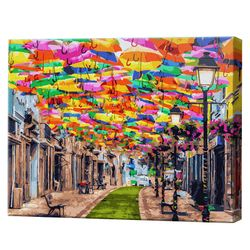 Улочка под разноцветными зонтиками, 40х50 см, картина по номерам Артукул: GX30102