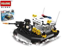 Конструктор HSANHE Полицейский катер 27,5X19.5X4.5cm,168дет.