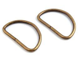 Metal D-ring width 50 mm, vintage brass