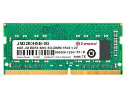 .8GB DDR4-  3200MHz  SODIMM  Transcend PC25600, CL22, 260pin DIMM 1.2V