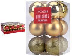 Set de globuri 12X60mm aurii in cutie, 3 modele