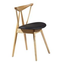 Деревянный стул с черным кожаным сиденьям, 530x530x1000 мм
