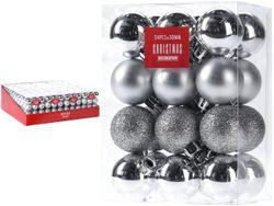 Набор шаров 24X30mm, серебр в коробке, 3 дизайна