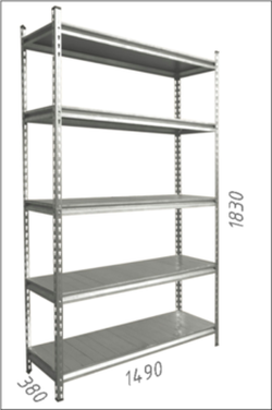 Стеллаж металлический с металлической плитой Gama Box 1490Wx380Dx1830 Hмм, 5 полок/MB