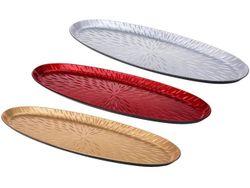 Тарелка декоративная овальная 51.5X18X2.4сm, красн/золот/сер