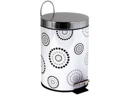 Cos pentru gunoi cu pedala 3l Dots alb, inox