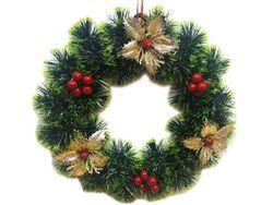 Венок новогодний D24cm зеленый, c цветами и шариками