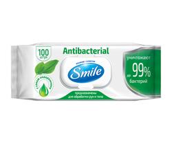 Şerveţele umede Smile antibacteriale cu suc de patlagină, 100 buc.