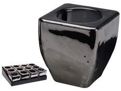 Подсвечник 2in1 7X6X4cm, стекло, серый перламутр