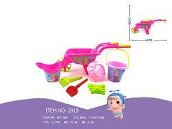 Набор игрушек для песка в розовой тележке, 7 ед, 60X26cm