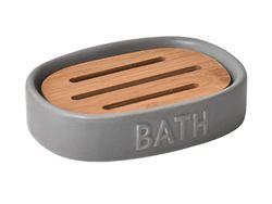 Sapuniera Bath gri, ceramica+bambus