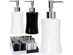Dozator pentru sapun lichid H13cm, D7.5cm, ceramic, alb/negru