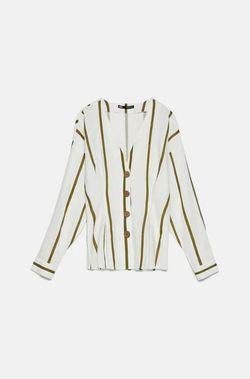 Блуза ZARA Белый в полоску хаки 7969/025/069