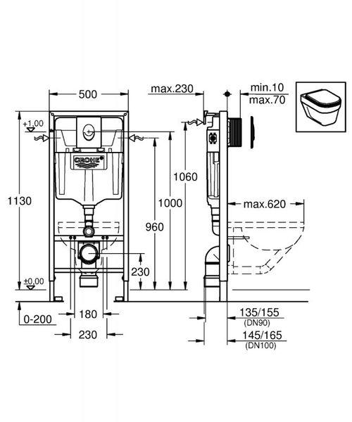 RAPID SL 4в1 комплект для подвесного унитаза (бачок, крепеж, кнопка белая - двойн. слив 38505SHO, белый, с прокладкой