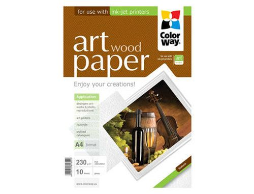 купить ColorWay Art Wood Glossy Finne Photo Paper, 230g/m2, A4, 10pack в Кишинёве