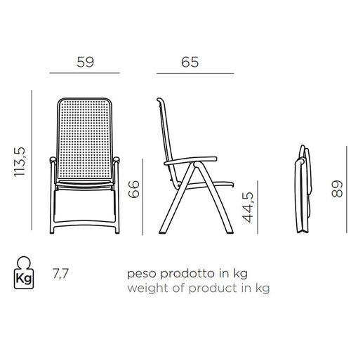 купить Кресло складное Nardi DARSENA BIANCO 40316.00.000 (Кресло складное для сада и террасы) в Кишинёве