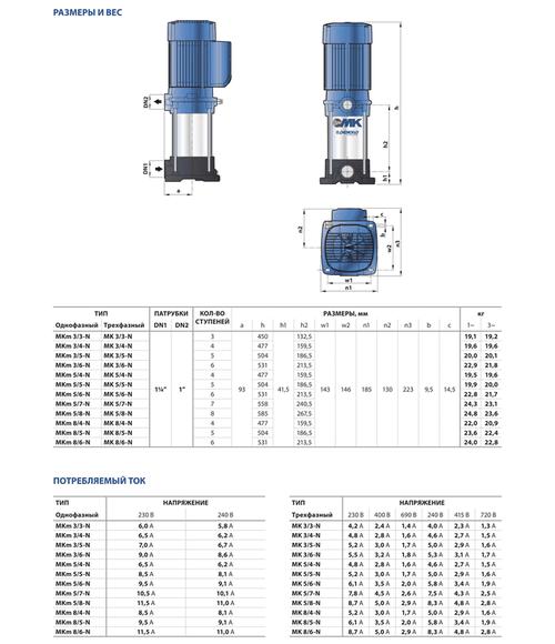 купить Многоступенчатый вертикальный насос  Pedrollo MK5/4 1.1 кВт в Кишинёве