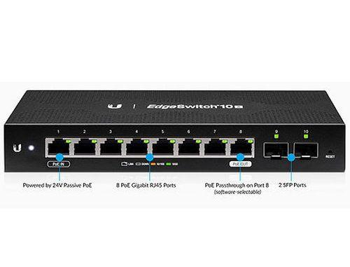 купить Ubiquiti EdgeSwitch ES-10X, 8-Port Gigabit RJ45, 2-ports SFP, Supports PoE Input on Port 1, Non-Blocking Throughput: 10 Gbps, Switching Capacity: 20 Gbps, Rackmountable (retelistica switch/сетевой коммутатор) в Кишинёве
