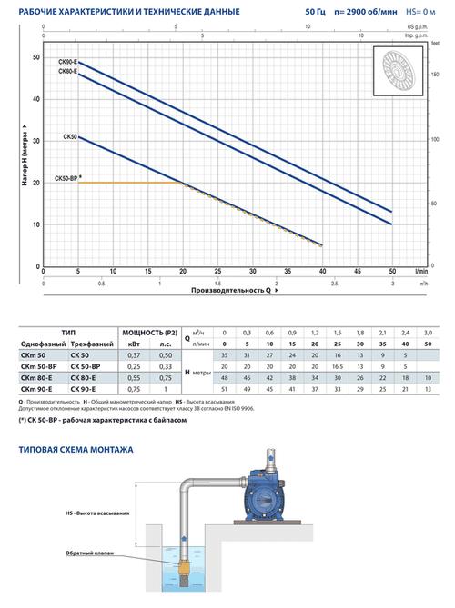 купить Самовсасывающий жидкостно-кольцевой насос Pedrollo CKm80-E 0.55 кВт в Кишинёве