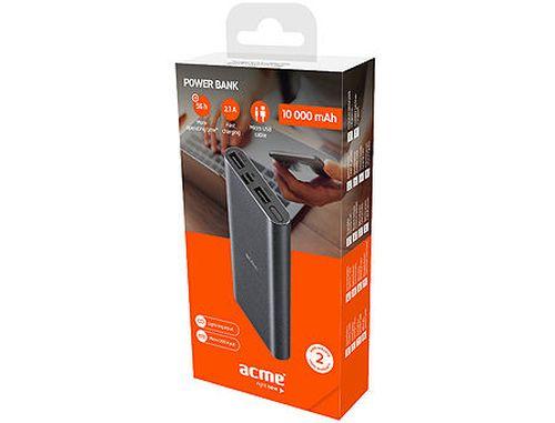 купить ACME PB15G Space Gray Power bank, Li-polymer 10 000 mAh (37 Wh), Input 1: Lightning DC 5 V/1.5 A, Input 2: Micro USB, DC 5 V/2 A (acumulator extern universal / универсальный мобильный внешний аккумулятор) www в Кишинёве