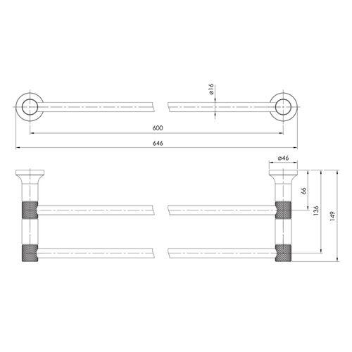 BRENTA полотенцедержатель двойной 600 мм, хром