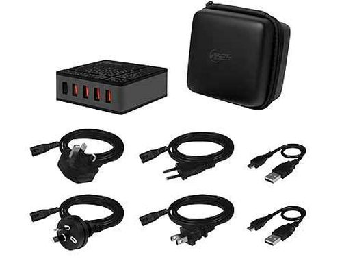купить USB Charger Arctic Global Charger 8000 (APWCH00018A), 5-Port Black, Travel Bag + Travel Cable sets, 4 x USB Smart Charge 2.4A, 1 x Quick Charge 2.0, 40 Watts в Кишинёве