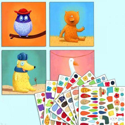 """купить Набор для аппликации с наклейками """"Животные"""" DJECO в Кишинёве"""
