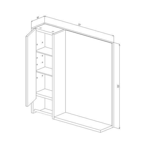купить Selena Шкаф-зеркало белый структурный 700 L в Кишинёве
