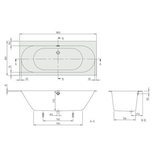 OBERON 2.0 ванна 180*80см, акриловая с ножками и сливом-переливом