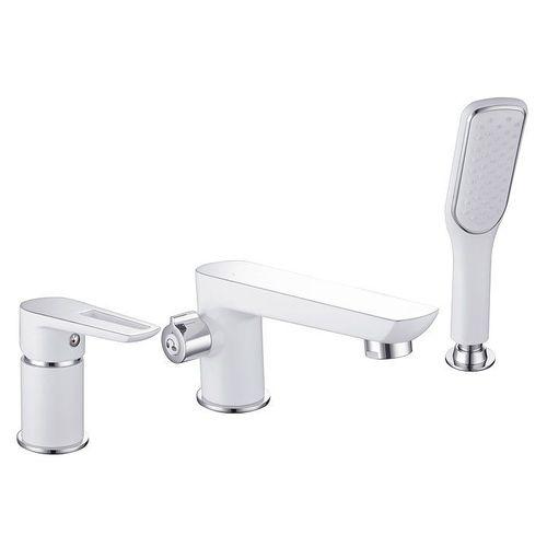 IMPRESE BRECLAV смеситель для ванны, врезной, на три отверстия, хром/белый (baie)