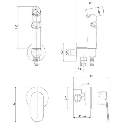 LASKA набор (смеситель скрытого монтажа с гигиеническим душем) (ванная комната)