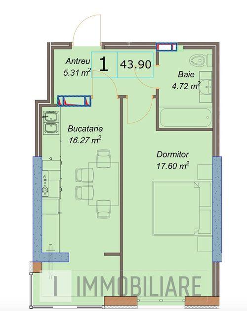 Apartamente cu 1 cameră, sect. Centru, str. Petru Movilă.