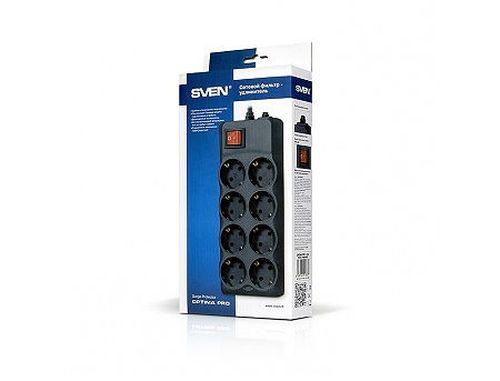 купить Фильтр импульсных помех SVEN Optima Pro Black 8 sockets, 3,1m (Priza cu protectie - prelungitor/basic surge protection) в Кишинёве