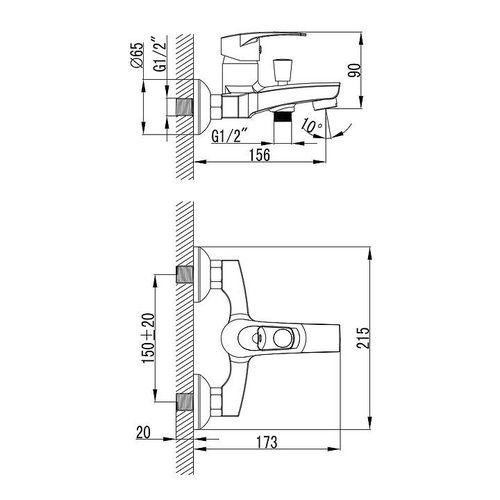 IMPRESE LIDICE смеситель для ванны, хром, 35 мм (ванная комната)