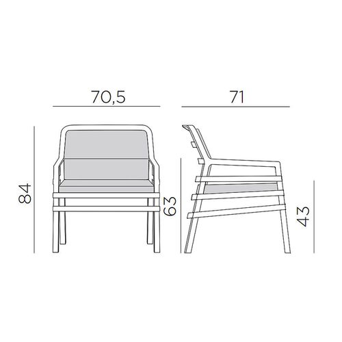 купить Кресло с подушками Nardi ARIA BIANCO bianco 40330.00.155.155 (Кресло с подушками для сада и терас) в Кишинёве