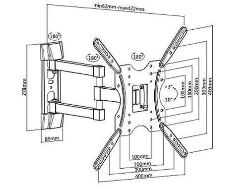 "купить LCD/TV Full motion Wall Mount Brateck KLA27-443, Max VESA 400x400, Screen 32""-55"" Load 30 Kg, Profile 62-422mm, Tilt +3°~-10°, Swivel +90°~-90° (suport de perete pentru TV/крепление подвес настенный кронштейн для телевизора) в Кишинёве"