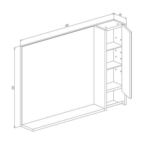 купить Selena Шкаф-зеркало белый структурный 1000 R в Кишинёве