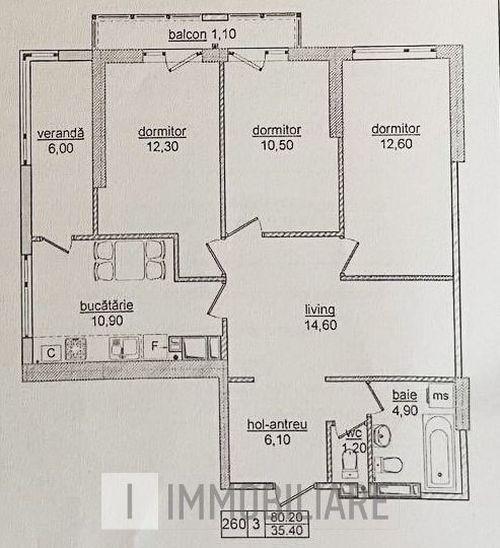 Apartament cu 3 camere+living, sect. Botanica, str. Nicolae Titulescu.
