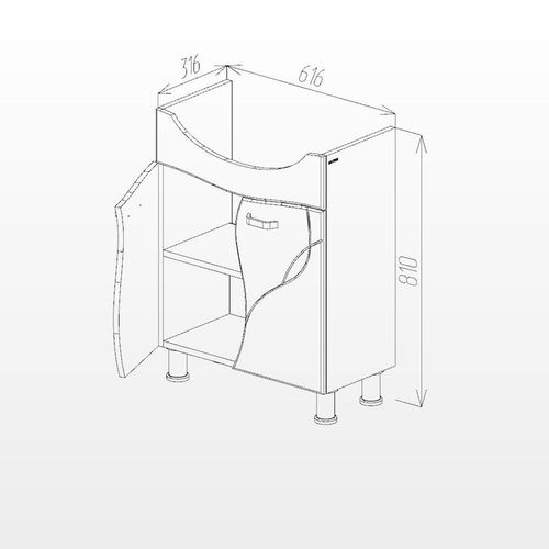 купить Interio Шкаф белый про с умывальником Zenon 650 в Кишинёве