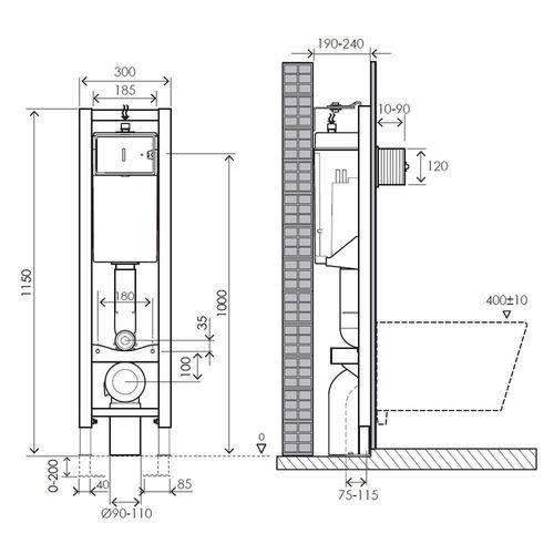MPRESE комплект инсталляции для унитаза 3в1, узкая 30 см (инсталляция, крепления, клавиша хром PAN)