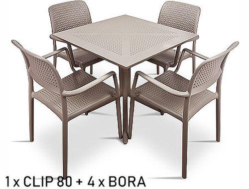 купить Set mobila de terasa masa Nardi CLIP 80 + 4 fotolii BORA в Кишинёве