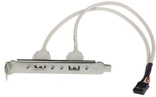 cumpără Bracket Dual USB port  Gembird CCUSBRECEPTACLE, dual USB port receptacle on bracket housing, connector on the metal bracket, 25cm, bulk în Chișinău